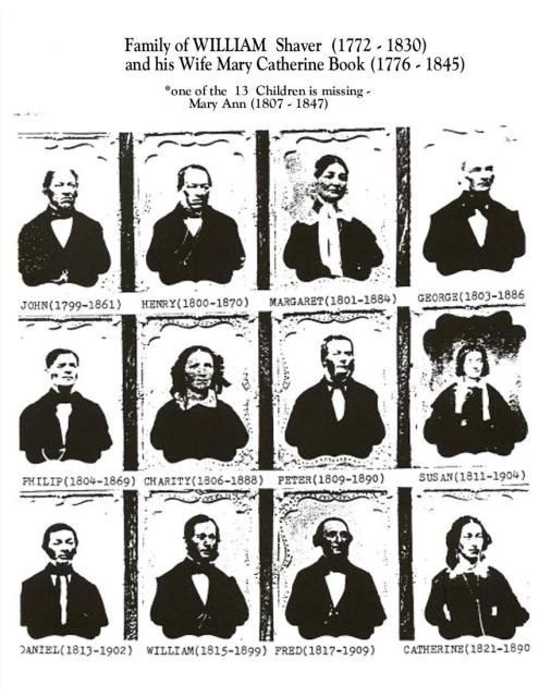 13 chidren of William Shaver and Catherine Book
