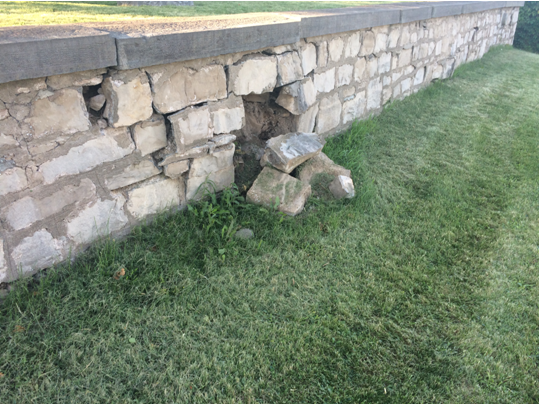 Shaver Family Cemetery - South wall deteriorating - 2017-06-27